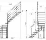 Чертеж лестницы Zstep stairs LOFT